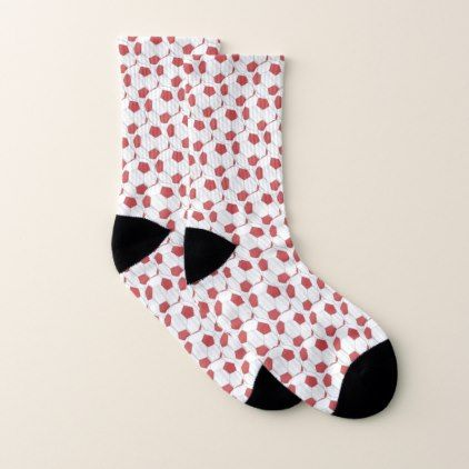 7dcad87fc7ac Red and White Soccer Ball Pattern Socks - pattern sample design template  diy cyo customize