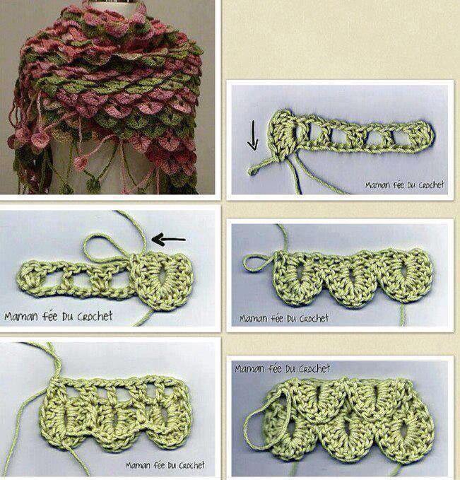 Krokodil steek - sjaal | color | Pinterest | Krokodilstich und Häkeln