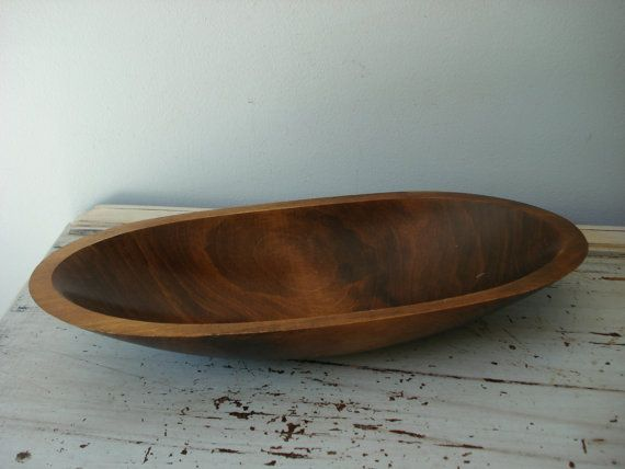 Vintage Wooden Bowl Large Oval Hand Crafted Wood