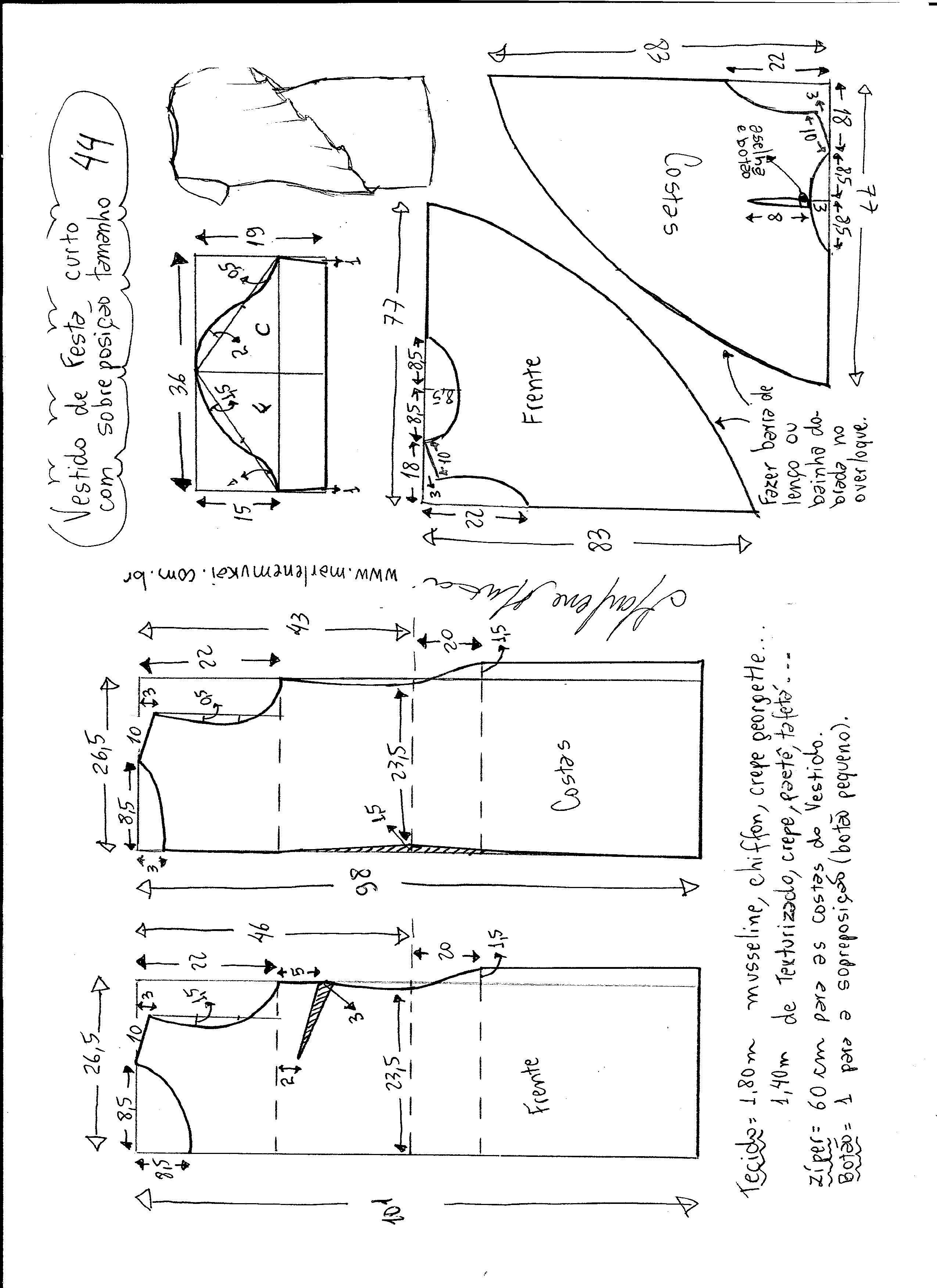 Pin de Melania Delia en abiti | Pinterest | Patrones, Costura y Molde