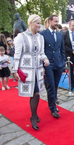 Crown Prince Haakon of Norway, Crown Princess Mette Marit of Norway attend the unveiling of a statue of King Olav V at the City Hall Square on June 7, 2015 in Oslo, Norway