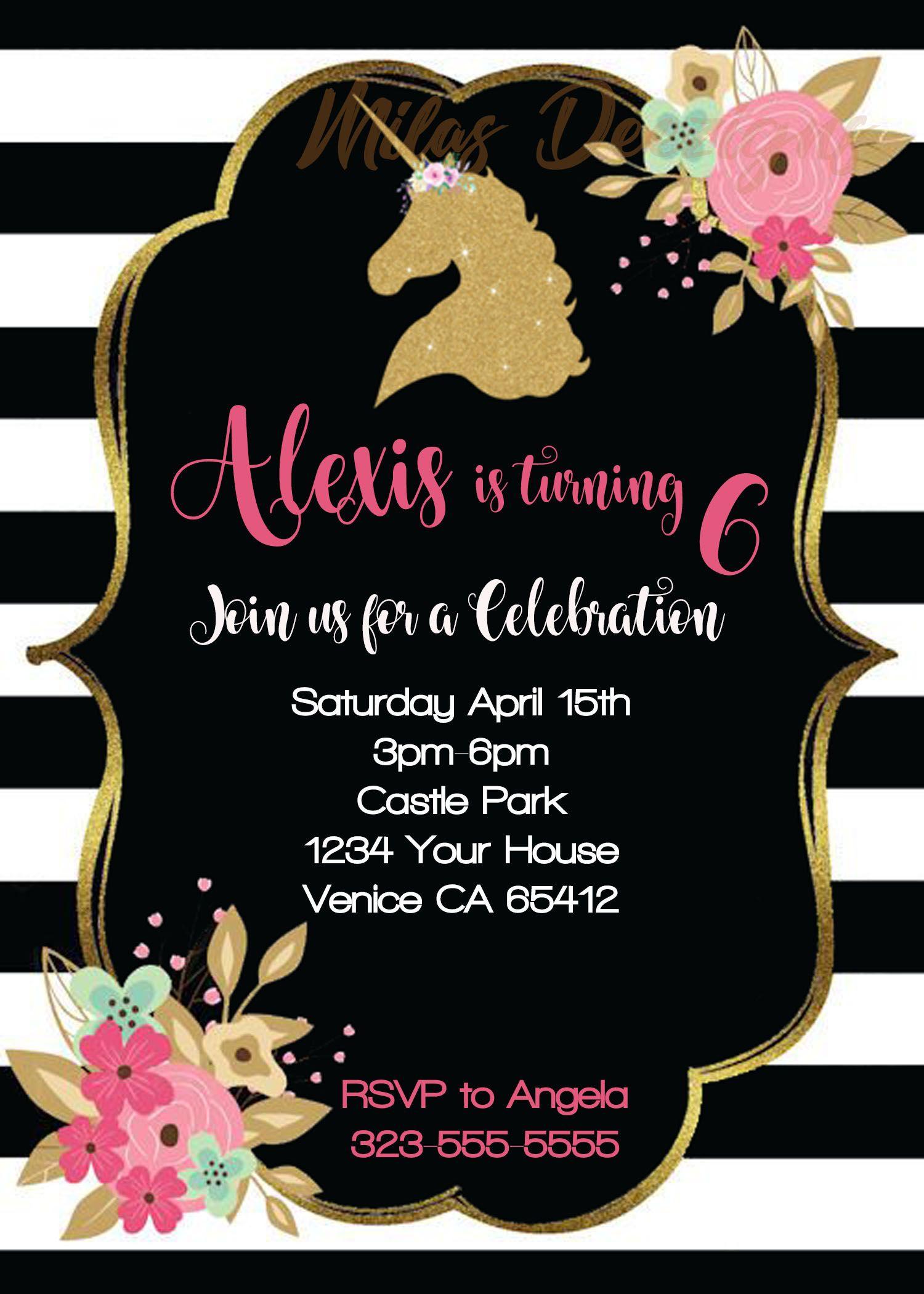 Floral Black Personalized Printable Unicorn Birthday Invitation MilasDeezigns