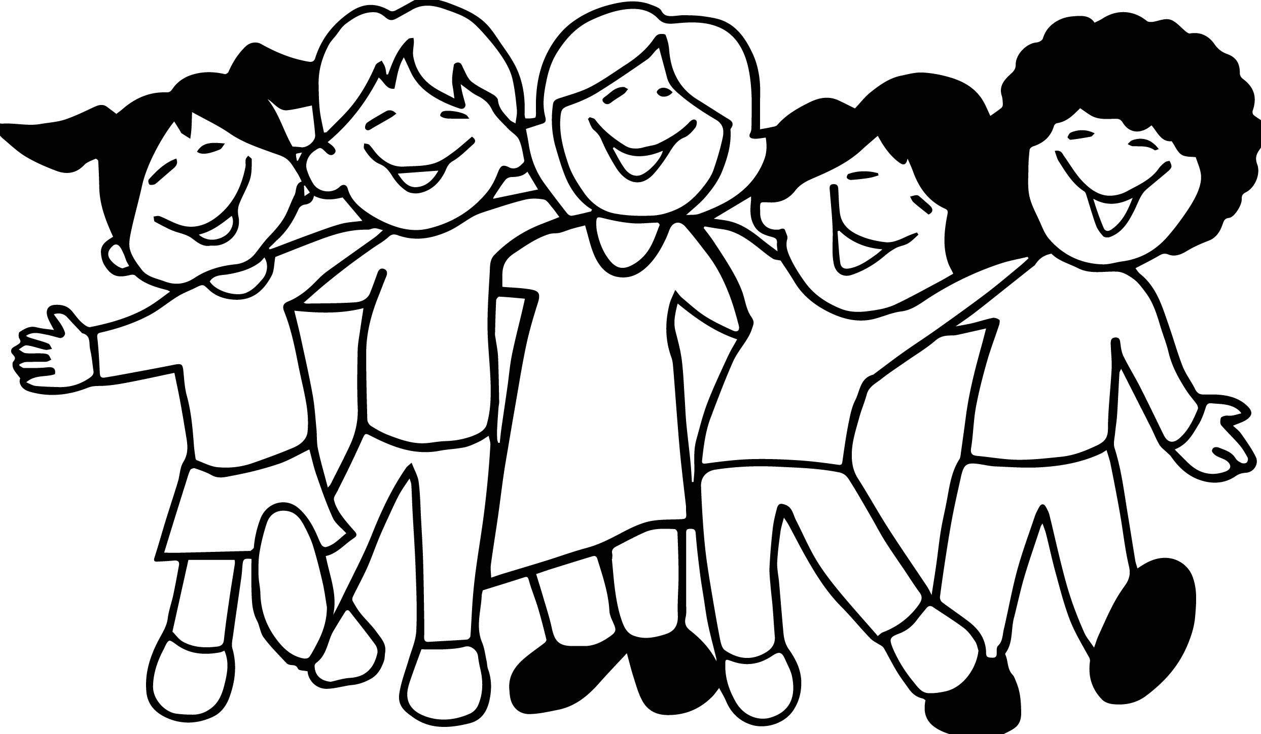 Cool Five Kids Friendship Coloring Page