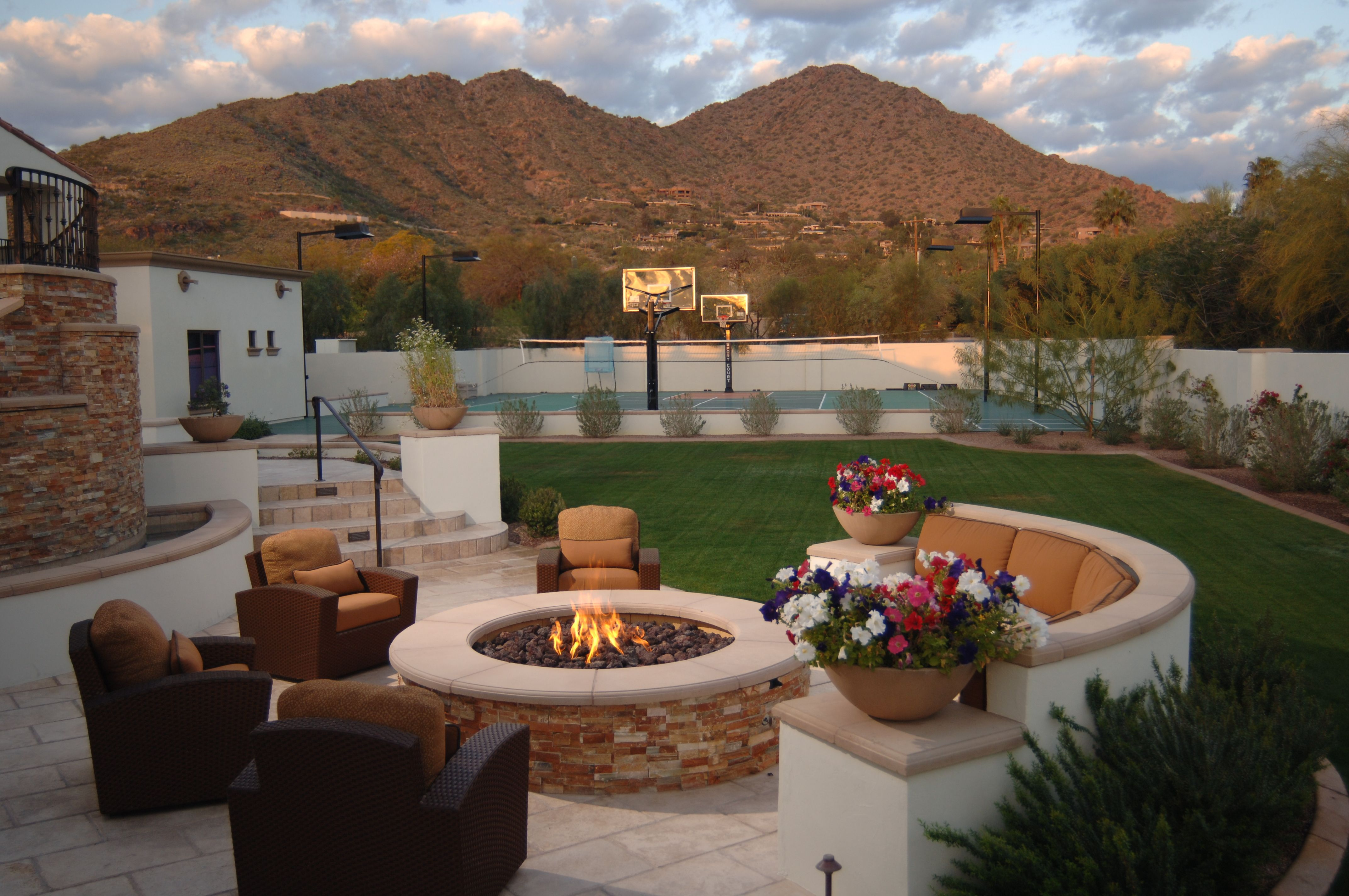 Dream Backyard With Fire Pit And Basketball Court Just Needs A Pool On The Other Side Arizona Backyard Desert Backyard Budget Backyard