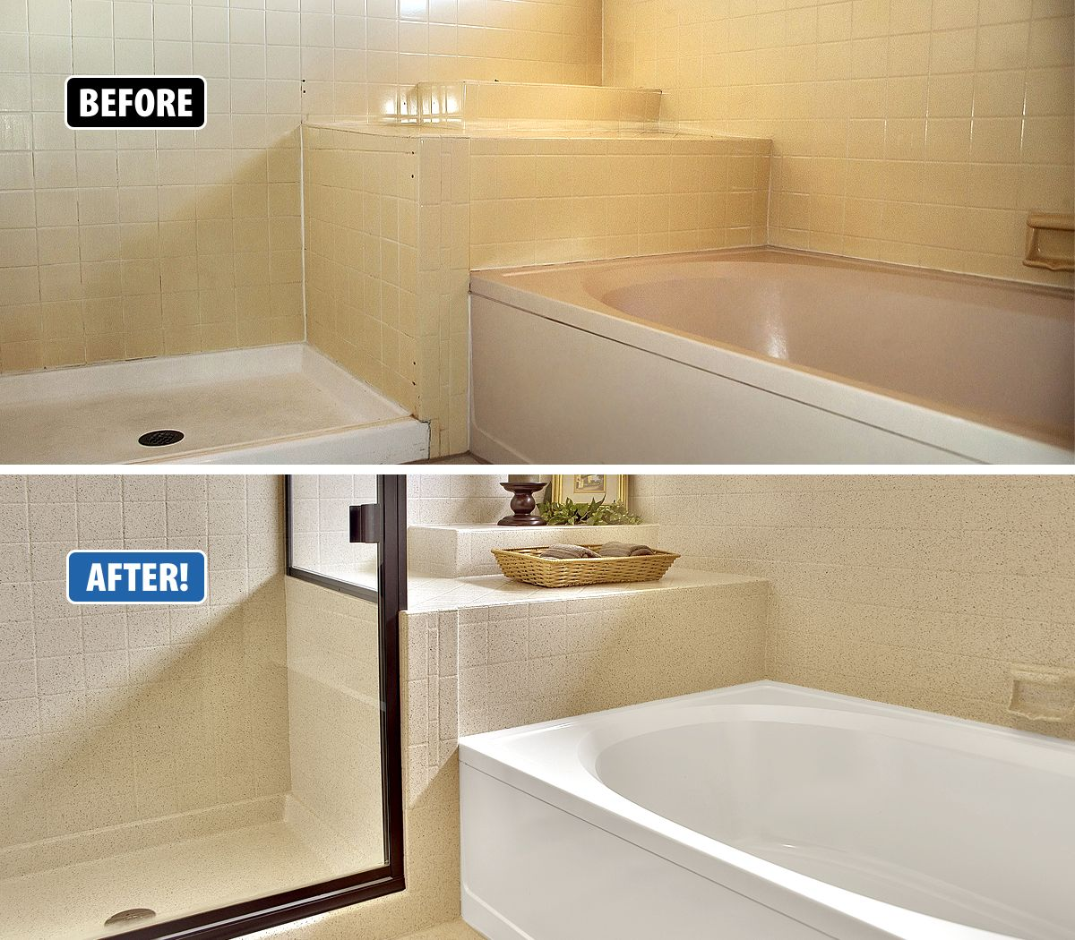 Worn And Stained Tub And Tile Don T Have To Be Replaced Miracle Method Can Refinish Over The Surface Making Refinish Bathtub Tub Refinishing Bathroom Makeover