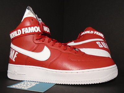 Nike Air Force 1 High SUPREME SP VARSITY RED BOX LOGO WHITE BLACK 698696-610