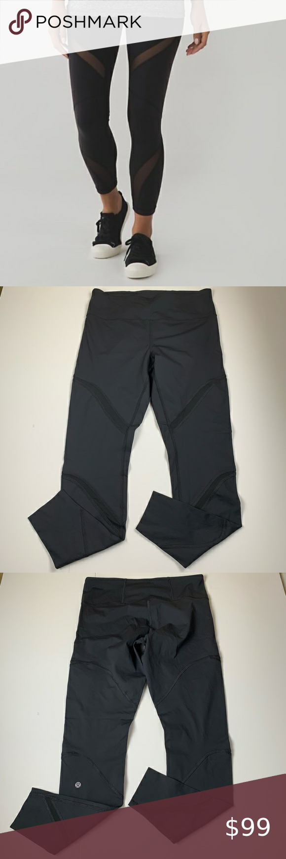 "NWOT Lululemon Black Mesh Panel 28"" Tight NWOT Lululemon Black Mesh Panel Tight. Size 12. Never worn. New without price tags. Approximate Flat Measurements Waist 15.5"", Rise 10"", Inseam 28"". 3 front mesh panels. Back waistband pocket. Color: Black 0023 lululemon athletica Pants Leggings"