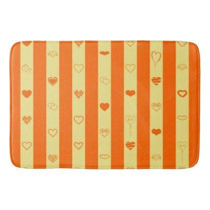 Orange Stripes Modern Heart Pattern Bathroom Mat - stripes gifts cyo unique style