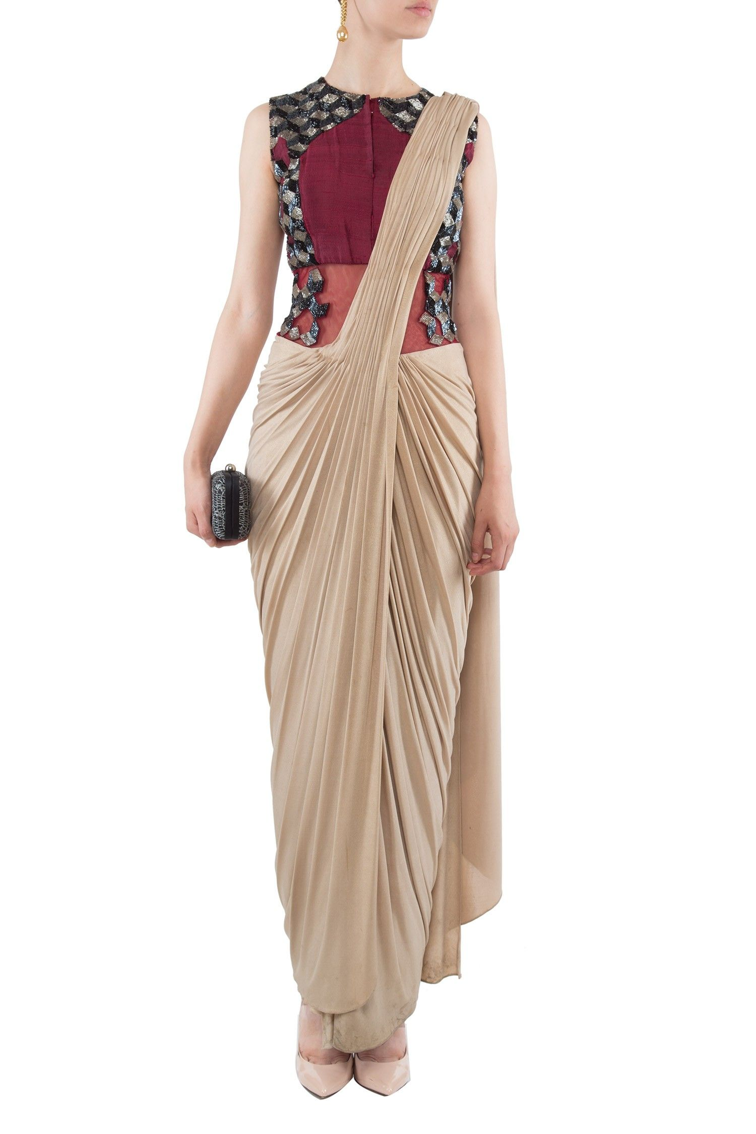 Draped saree gown by 1600 A.D. Shop now: http://www.onceuponatrunk ...