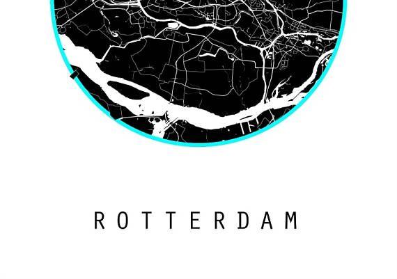 Rotterdam map netherlands map world map art for the wall black rotterdam map netherlands map world map art for the wall black and gumiabroncs Gallery