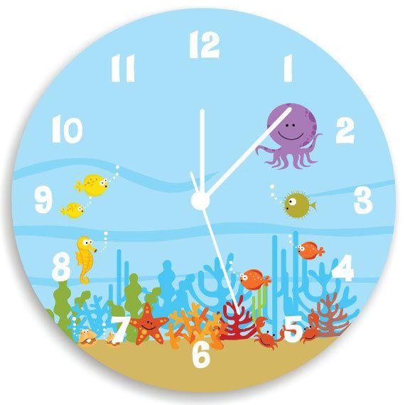 Kids Wall Clock  Ocean theme Children Room Decor  Life Under the Sea WALL  CLOCK. SPRING SALE Kids Wall Clock  Ocean theme Children Room Decor  Life
