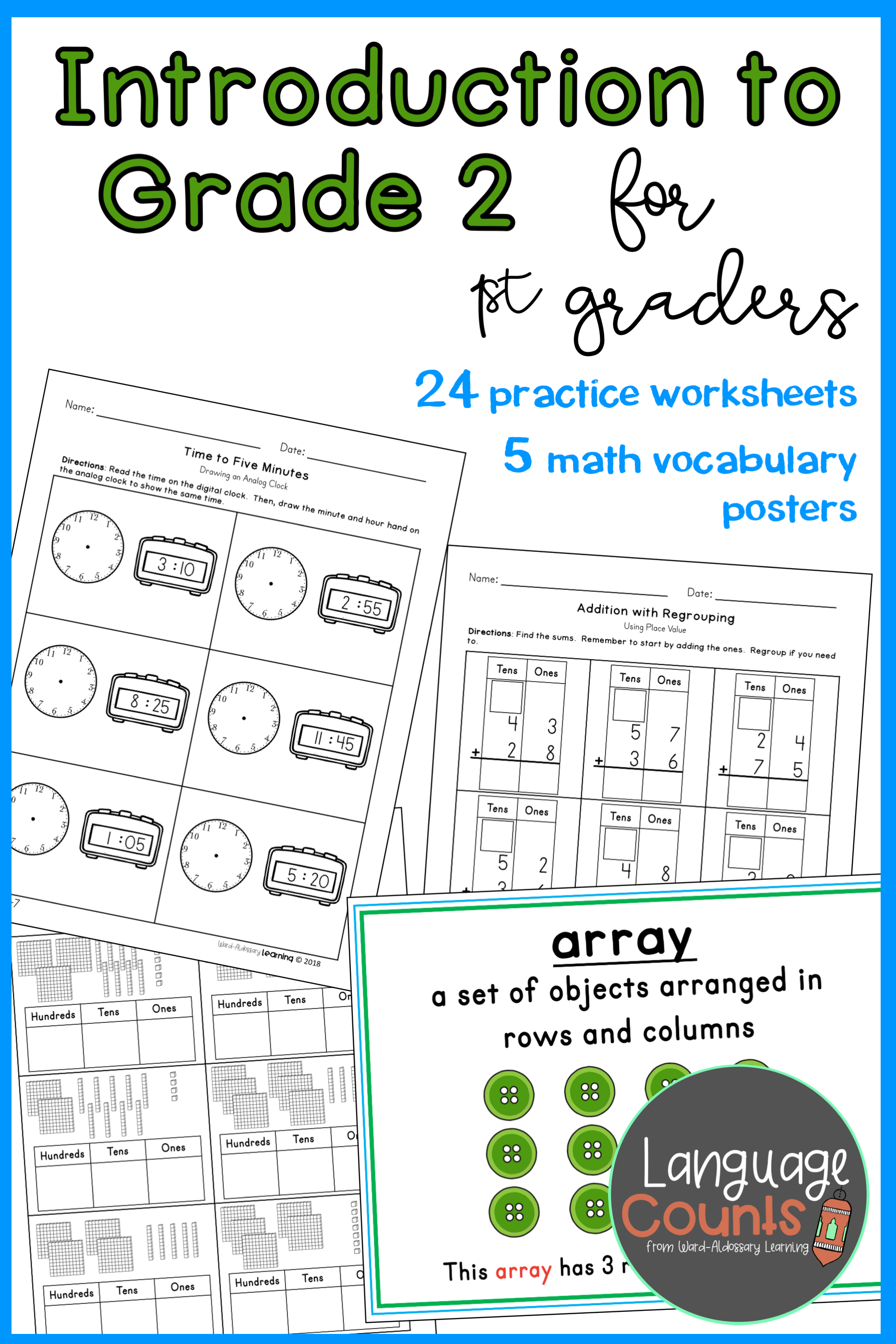 Introduces Students To 2nd Grade Concepts Such As Hundreds Time In Five Minute Intervals Arrays An 2nd Grade Worksheets Envision Math First Grade Worksheets [ 2800 x 1867 Pixel ]