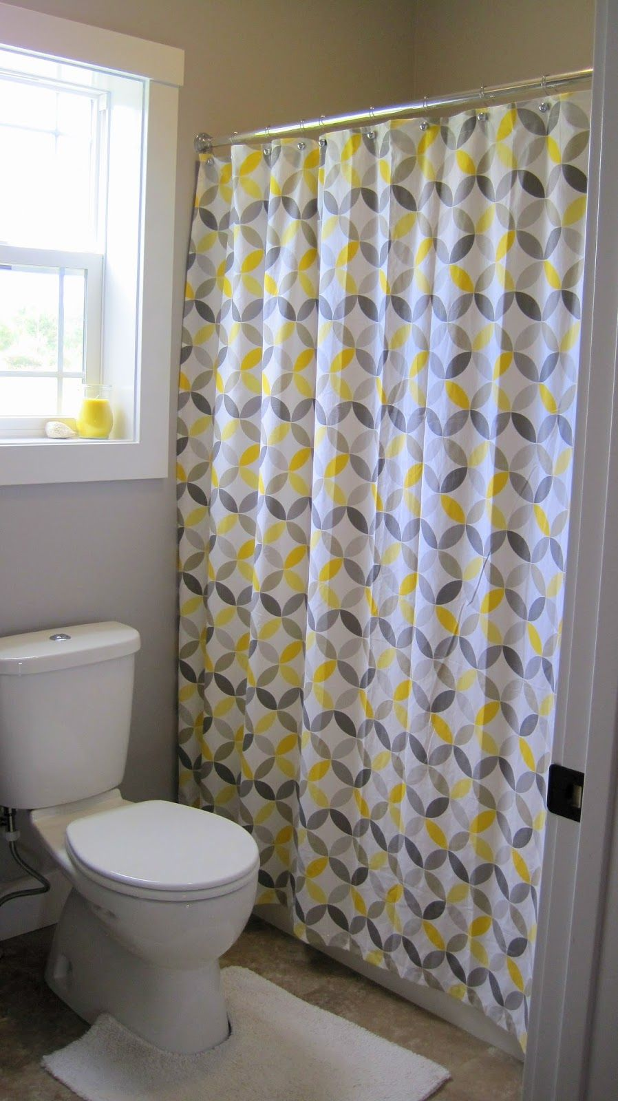 Cheery Yellow And Grey Bathroom Gray Shower Curtains Gray