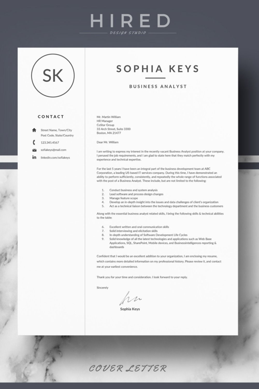R17 Sophia Keys Professional Resume Template For Word Pages