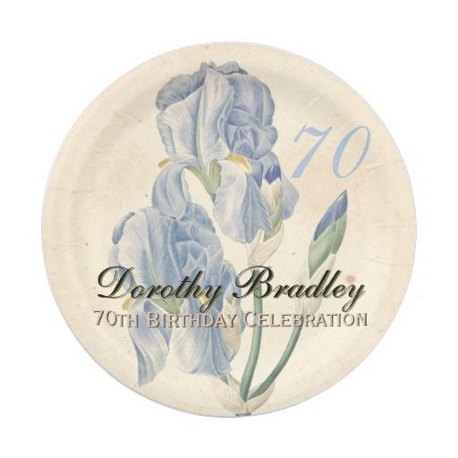 Vintage Irises 70th Birthday Party Paper Plates