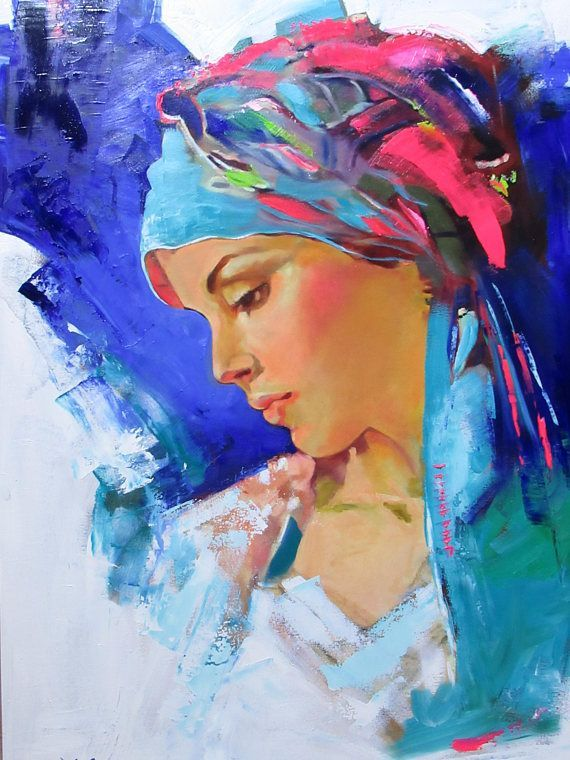 Items similar to Colorfull Woman, Oil Painting, Original Painting, Modern Painting, Portrait, Home Decor, Vivid Colors, Wall Decor, Easter, Handmade, Gipsy on Etsy - #colorfull #items #original #painting #similar #woman - #OilPaintings