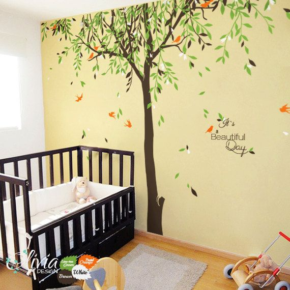 Large baby nursery willow tree vinyl wall decal nt017 for Baby nursery tree mural