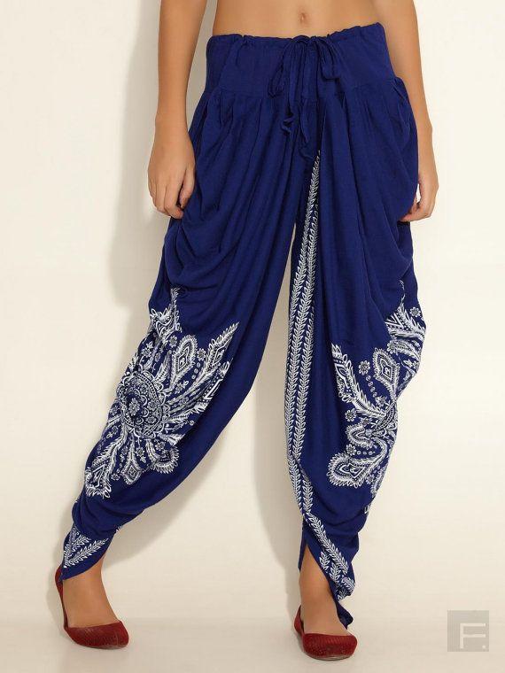 Harem Trousers Wide Leg Pleat Wrap Thai Hareem Pants Aladdin Smock Slits Hippie