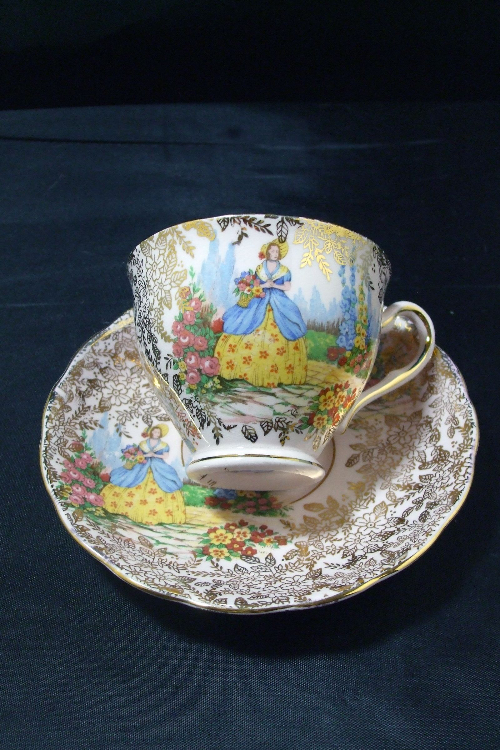 1f0977be26d Vintage 1940's Colclough Bone China Crinoline Lady Gold Chintz Tea Cup and  Saucer