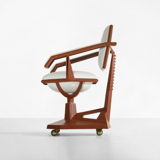 FRANK LLOYD WRIGHT    Executive armchair from Price Tower, Bartlesville, Oklahoma    USA, 1956  lacquered aluminum, leather