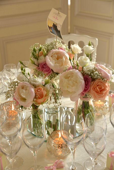 centre table champetre pivoine rose peche mariage reflets fleurs decoration mariage table. Black Bedroom Furniture Sets. Home Design Ideas