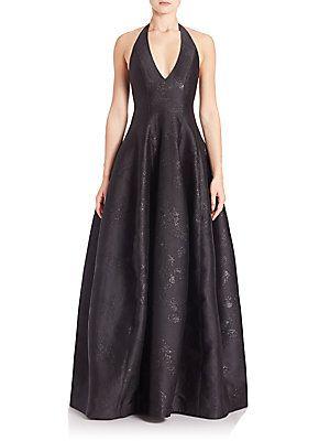 Halston Heritage Metallic Jacquard Halter Gown