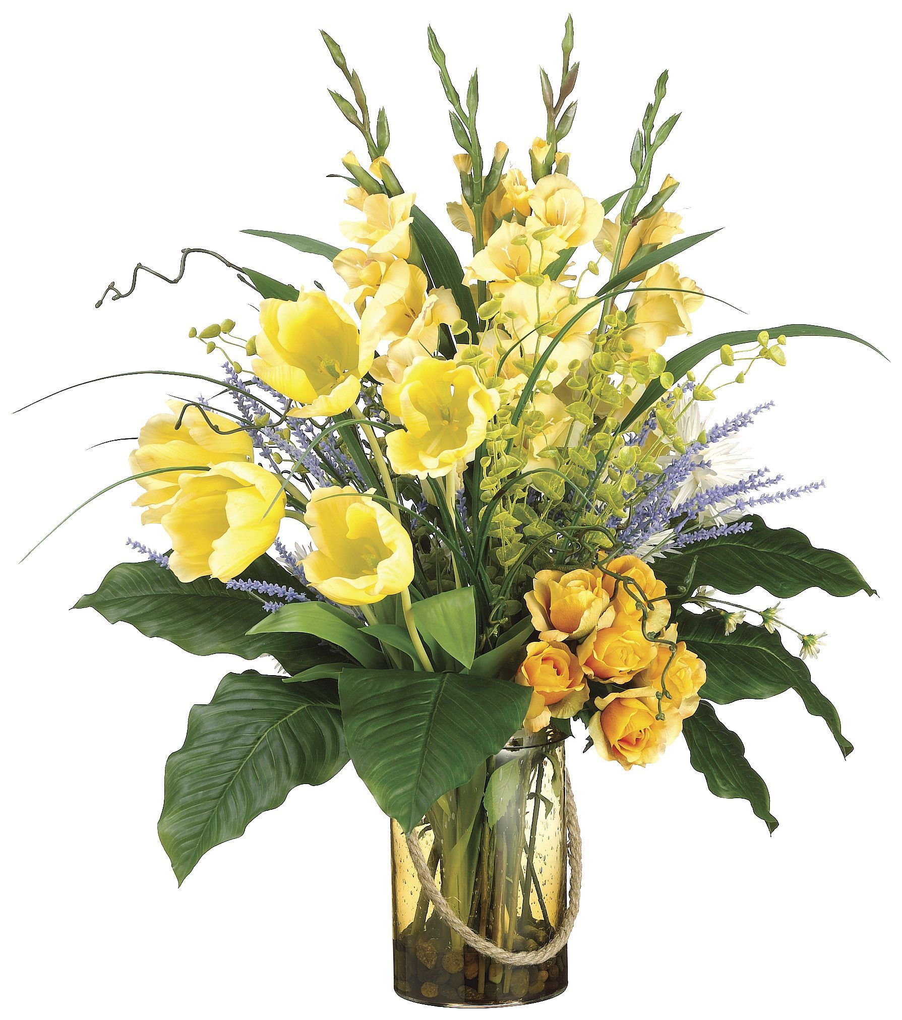Gladiolus Tulip Rose And Bells Of Ireland Arrangement In Glass Vase Yellow A Flower Arrangements Beautiful Flower Arrangements Christmas Floral Arrangements
