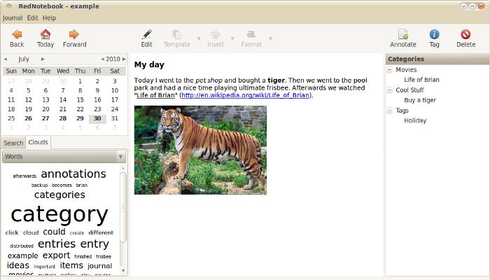 RedNoteBook: una agenda y un diario personal en la misma aplicación