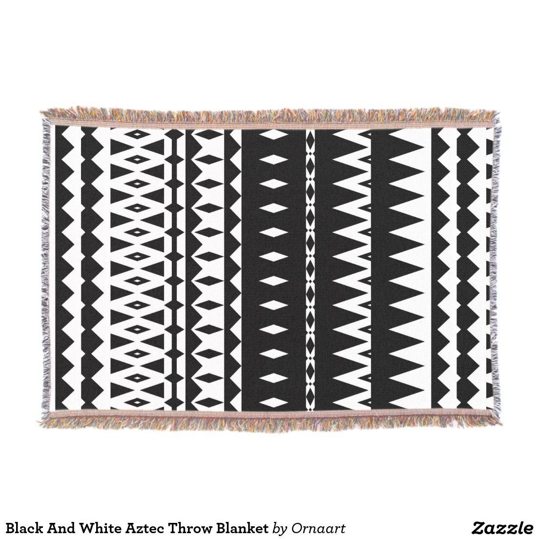Black And White Aztec Blanket