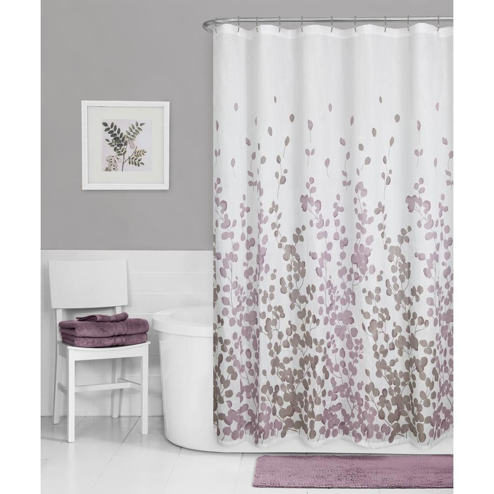 NEW Maytex Sylvia Leaf Fabric Shower Curtain in Lavender and Gray