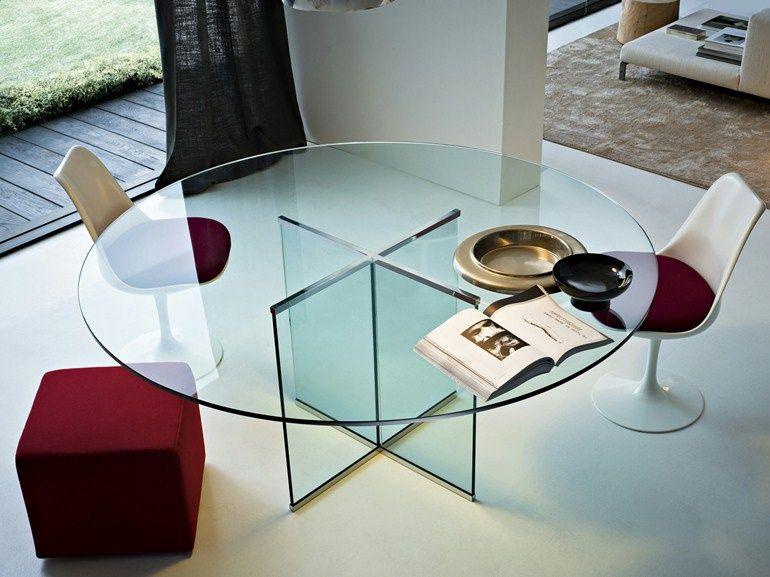 Tavoli Di Vetro Rotondi : Crystal table eros round table by gallotti radice furniture