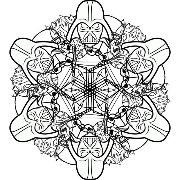 easy star wars snowflakes and mandalas to print and color