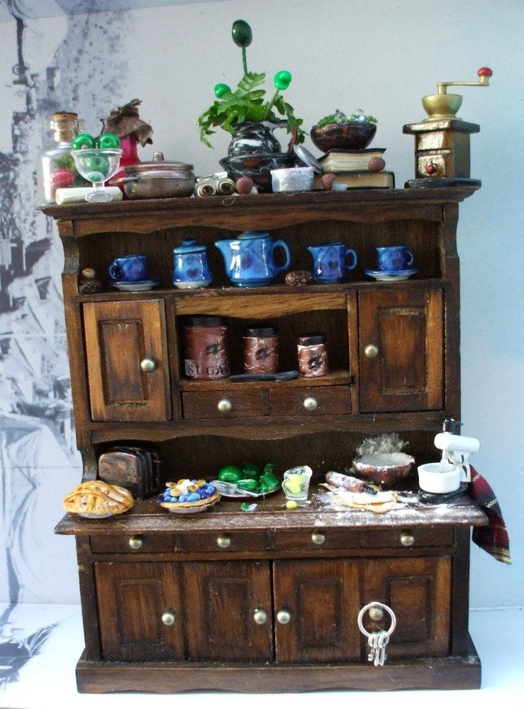 miniature dollhouse Witch Primitive Country gothic Kitchen Hutch ooak Halloween