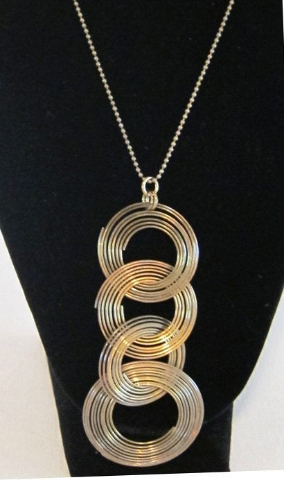 Vintage retro groovy 1970s tribal brass ring pendant by evaelena