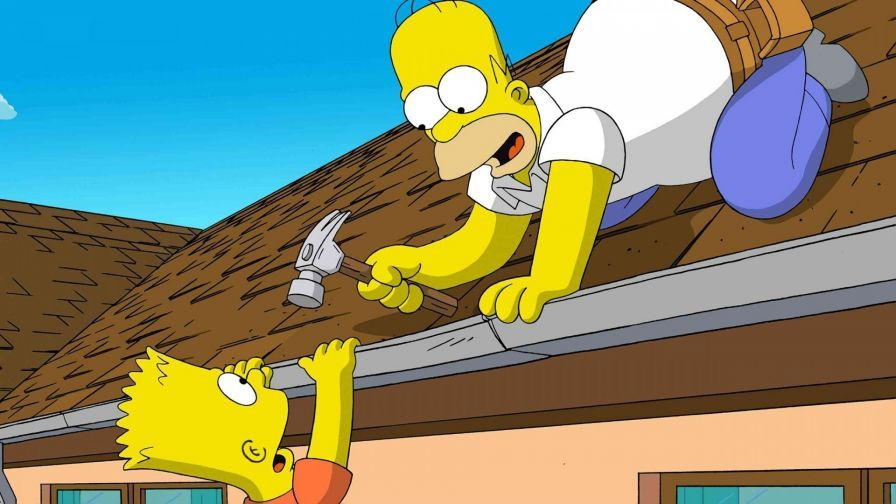 Homer Repair The Roof The Simpsons The Simpsons Movie Simpsons Cartoon The Simpsons