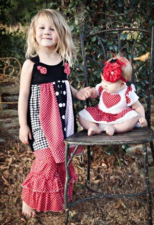 Girls Valentine Knot Dress6 Months to 12 YearsMatches Lil Sis Onesie \u0026  Brother Outfit!Pair