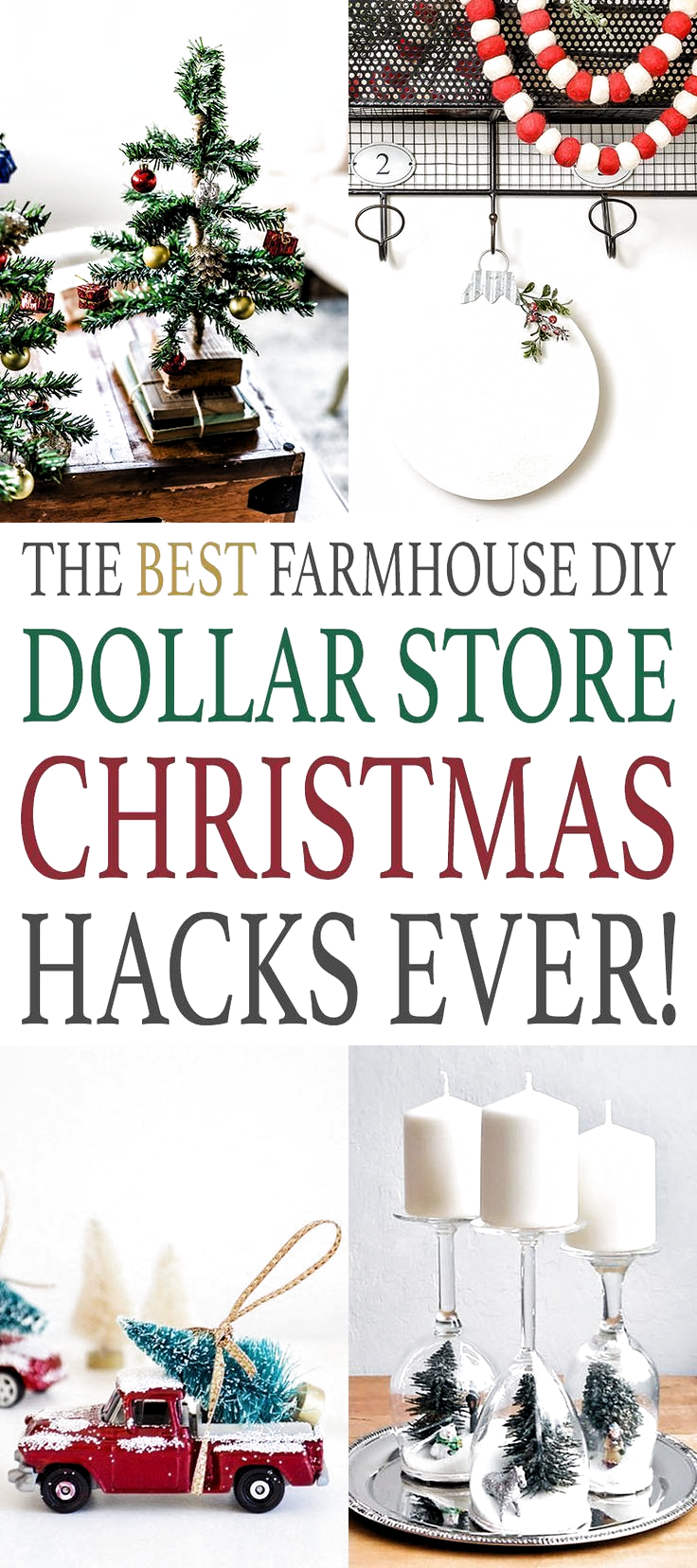 The Best Farmhouse DIY Dollar Store Christmas Hacks Ever! Its never too early to start planning what you will be making for the Christmas and Holiday Season. So check out these Farmhouse DIY Dollar Store Creations! Fabulous and Budget Friendly! #DIY #FarmhouseDIY #FarmhouseDIYDollarStoreHacks #DollarStoreHacks #FarmhouseDollarStoreHacks #DIYFarmhouseDollarStoreHacks