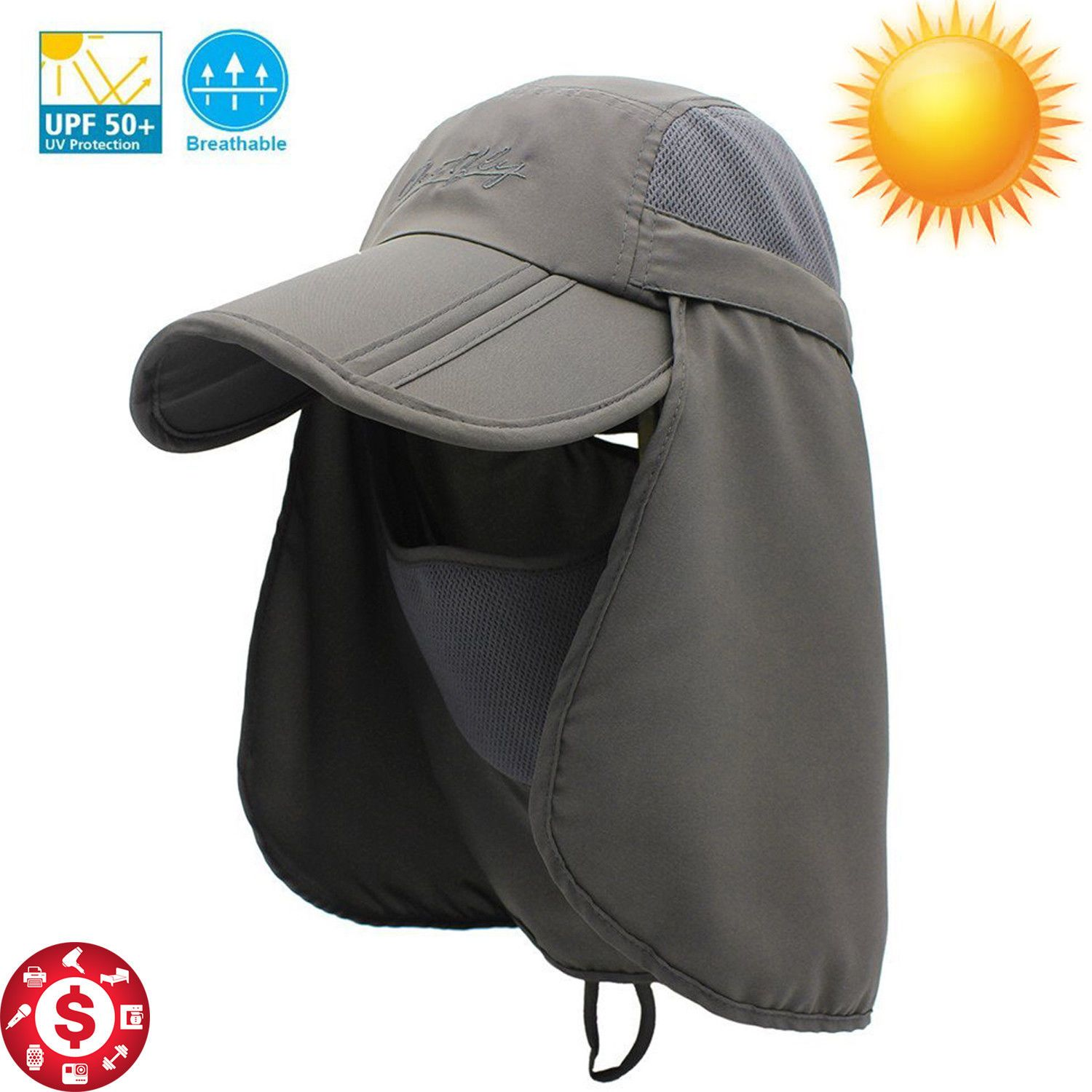 59f4f4c3c2b Outdoor Hat Sun Protection UV Fishing Summer Neck Flap Face Cover Mask Cap  Gray