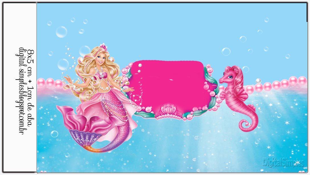 Kit Personalizado Tema Barbie Sereia Das Perolas Convites Digitais Simples Barbie Sereia Barbie Festa De Aniversario Da Sereia