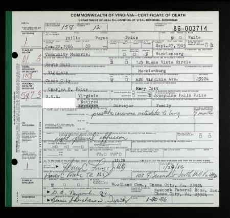 Yuille Payne Price discovered in Virginia, Death Records, 1912-2014 ...