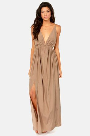 Titania's Woods Backless Taupe Maxi Dress | Maxi skirts, The ...