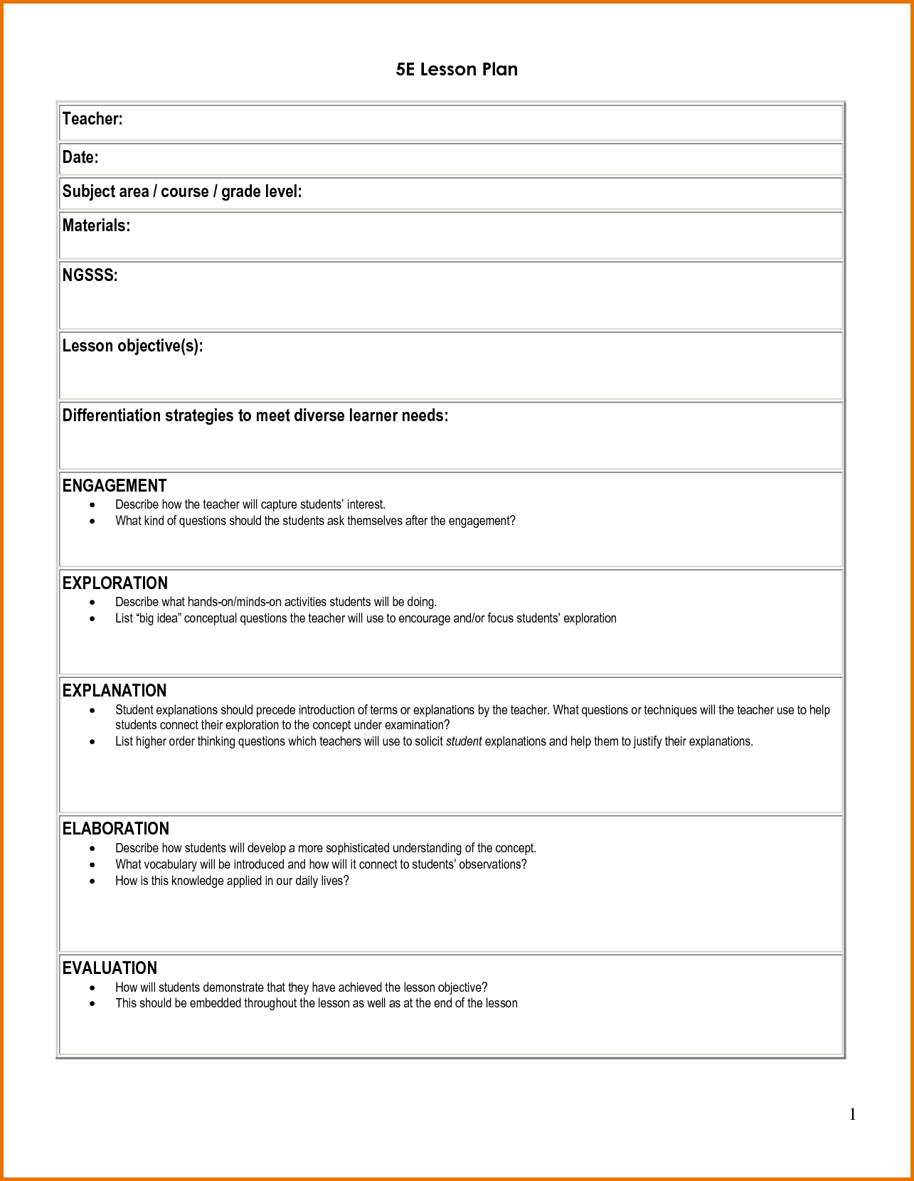 5e student lesson planning template download as doc lesson plan