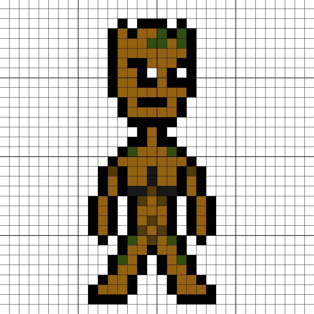 Groot Teenage Perler Bead Pattern Small Person Minecraft
