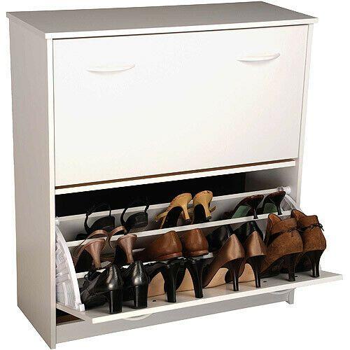 Pull-Out Shoe Cabinet Double Storage Stackable Unit Organizer . White #shoestorage   Shoe storage cabinet. Shoe cabinet
