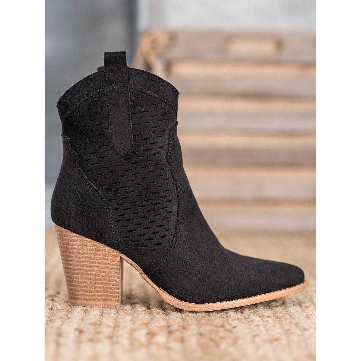 Seastar Azurowe Kowbojki Na Slupku Czarne Boots Women Shoes Cowboy Boots