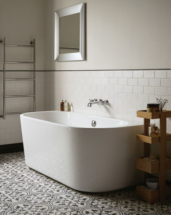Fired Earth Normandie Back To Wall Bath 59 X 76 X 164 1050 00 Family Bathroom Design Back To Wall Bath Small Bathroom