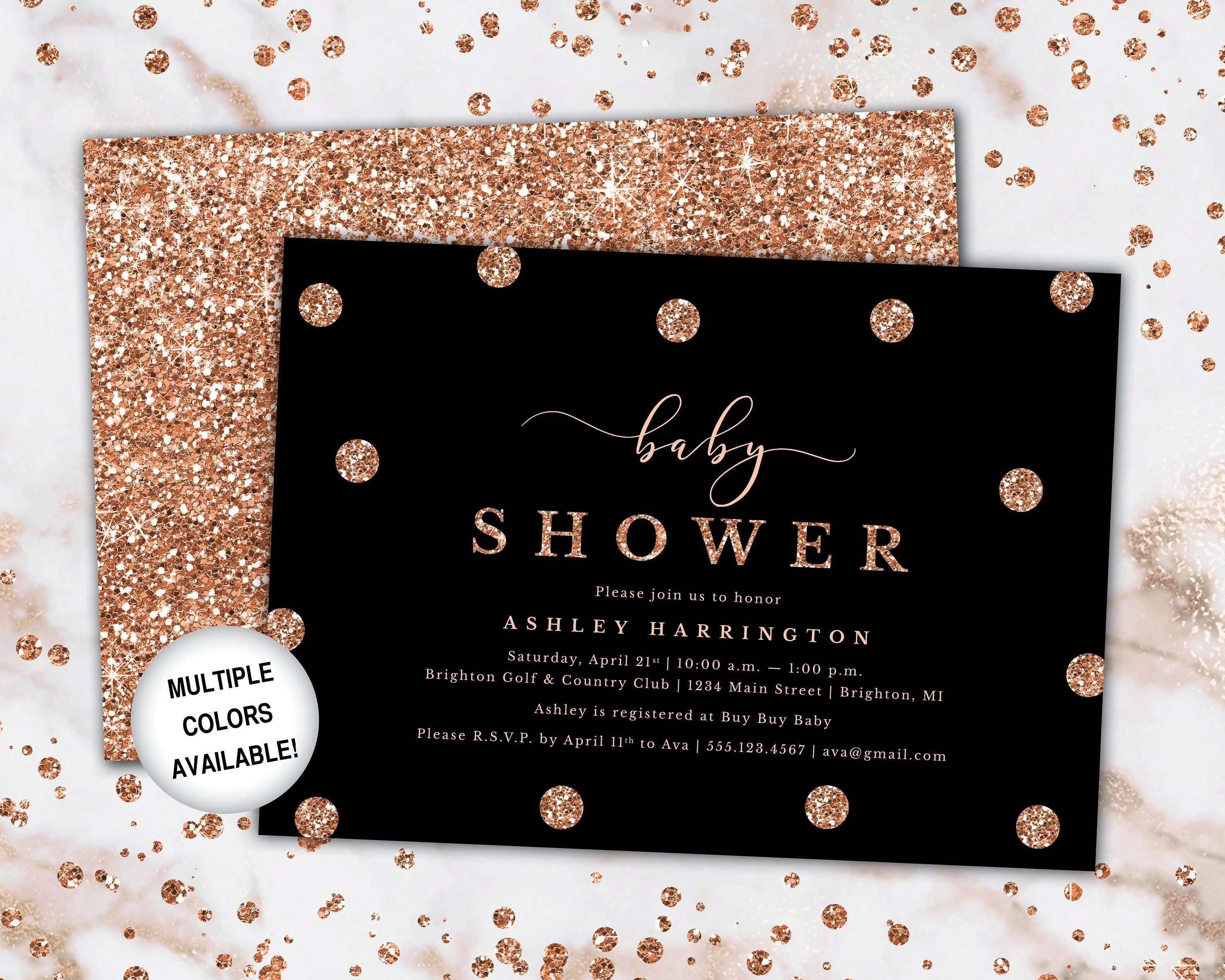 Rose Gold And Black Baby Shower Invitation Baby Shower Etsy Gold Baby Shower Invitations Rose Gold Baby Shower Baby Shower Invitation Templates