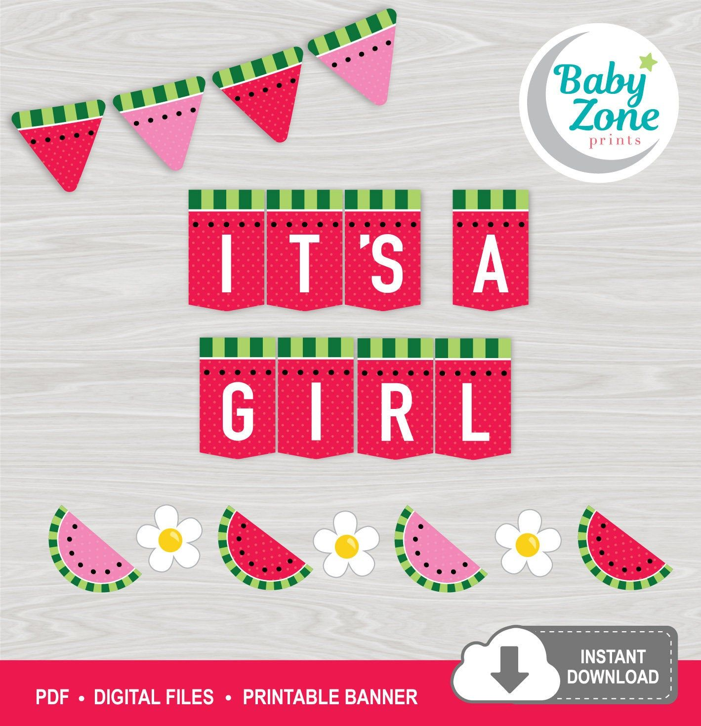 Watermelon It's a Girl Printable Banner Baby Shower Summer ...