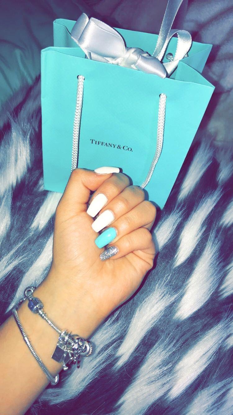 Tiffany Blue Acrylic Nails Tiffany Blue Nails Blue Acrylic Nails Tiffany Nails