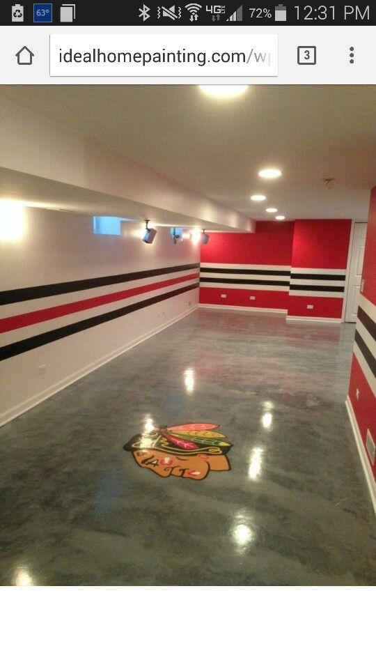 Chicago Blackhawks Themed Basement Room   Ideal Painting U0026 Home  Improvements  Palatine, Illinois